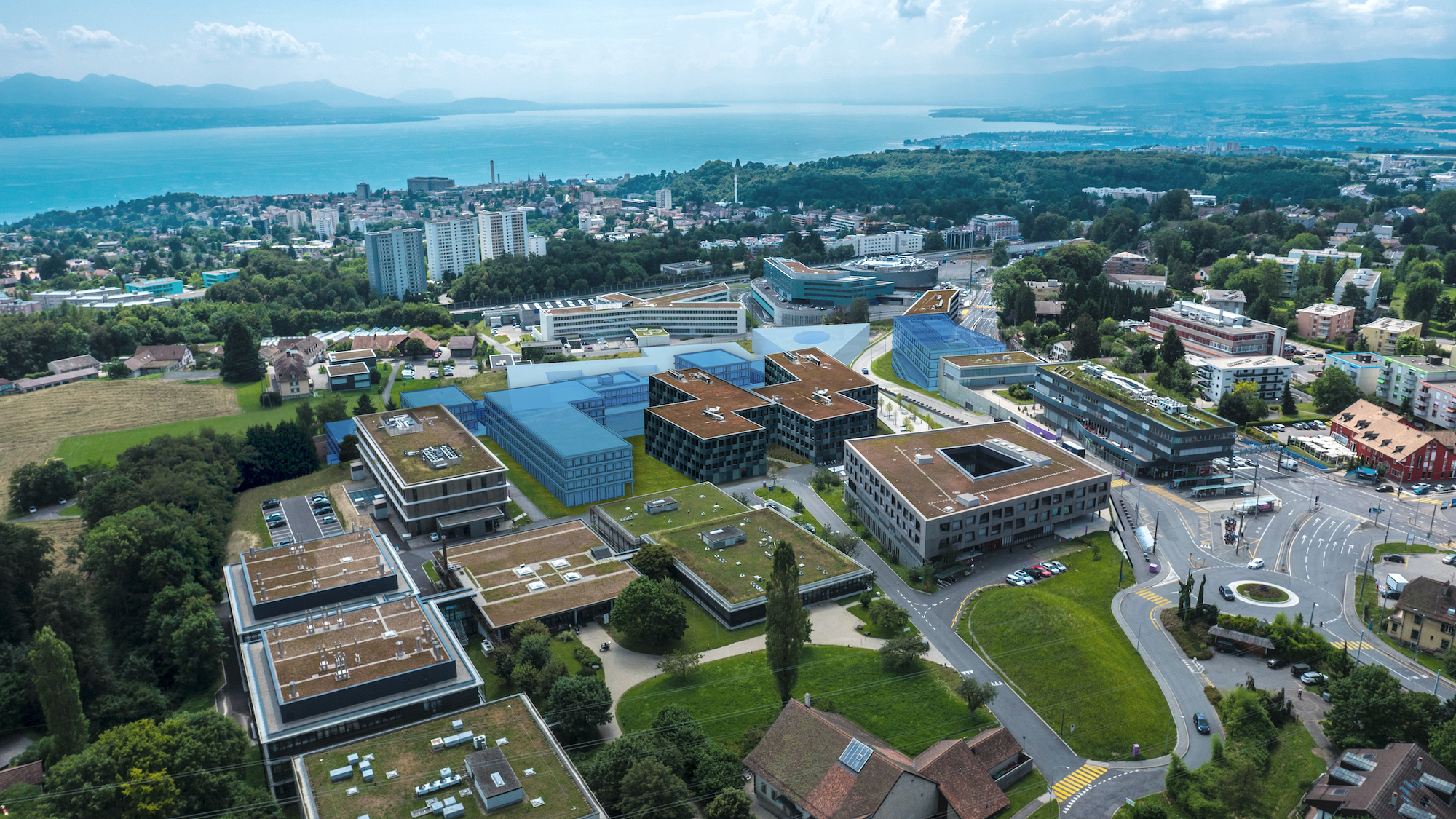 Aerial view of Biopôle life-science Campus Lausanne